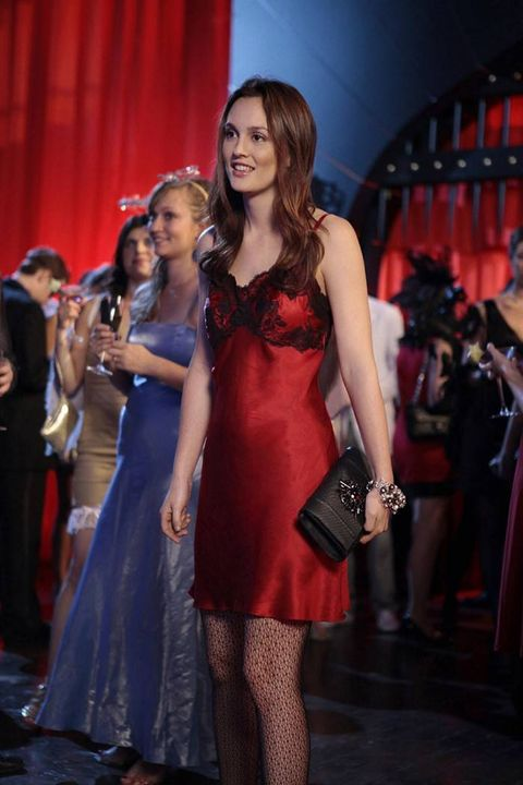 blair waldorf red slip dress