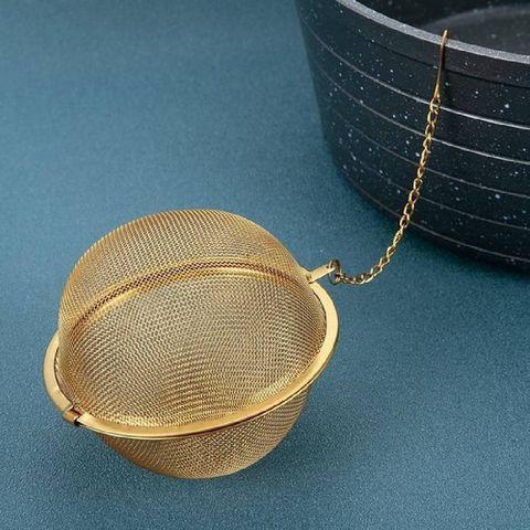 5 stuks thee ei goud rvs  thee eieren vaatwasbestendig  5cm doorsnede  thee ei voor losse thee  thee filter  thee zeef  kruidenbuil kruidenei