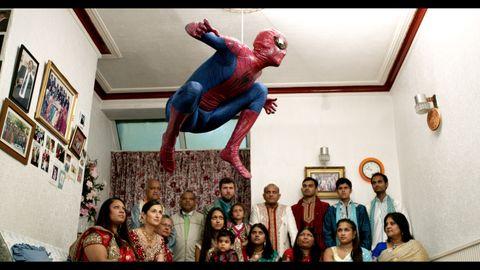 Spider-man, Flip (acrobatic), Fictional character, Superhero, Stunt performer, Performance, Street stunts, Art,