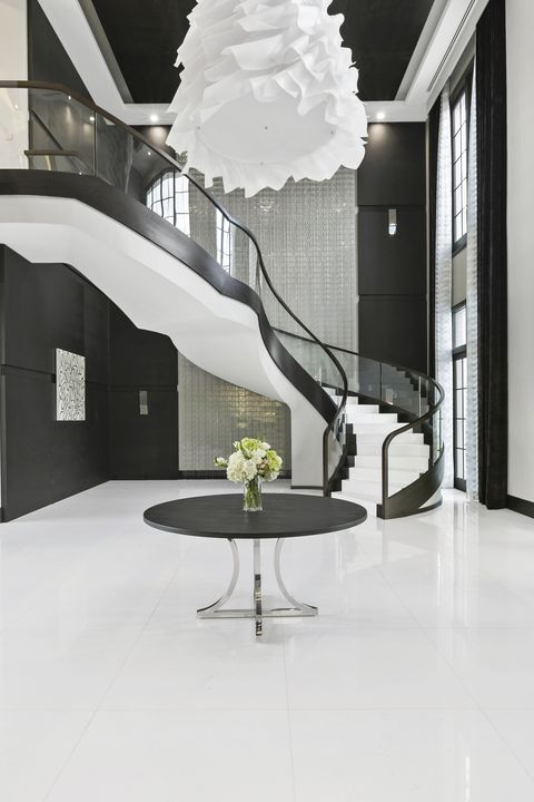 White, Interior design, Furniture, Floor, Room, Property, Living room, Table, Building, Black-and-white,