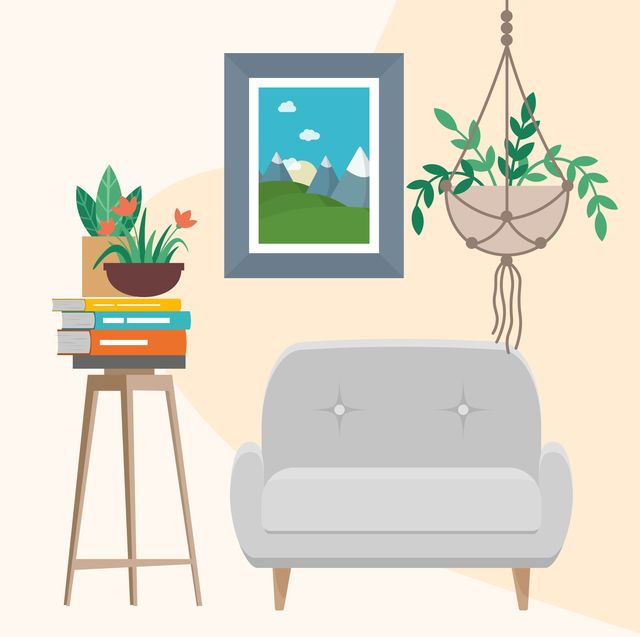 illustration of a plant, books, and chair