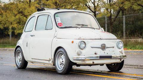 Land vehicle, Vehicle, Car, City car, Classic car, Motor vehicle, Coupé, Rim, Fiat 500, Subcompact car,