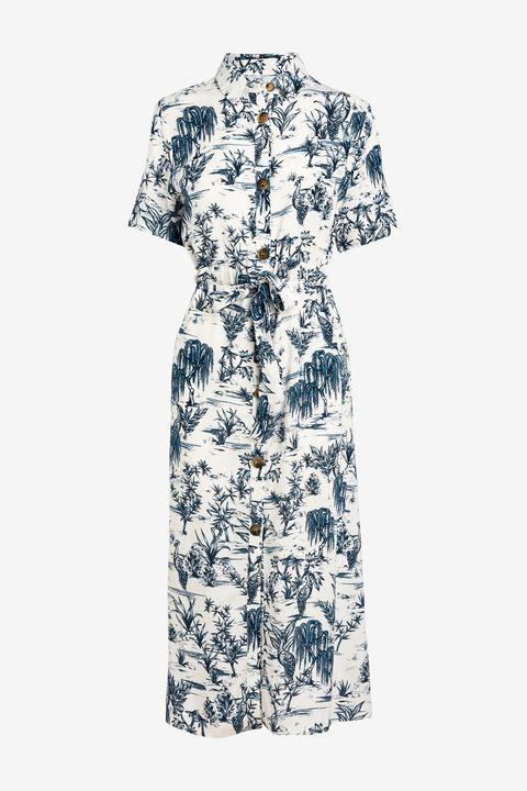 Clothing, Day dress, White, Dress, Sleeve, Robe, Pattern, Pattern, Collar, Sheath dress,
