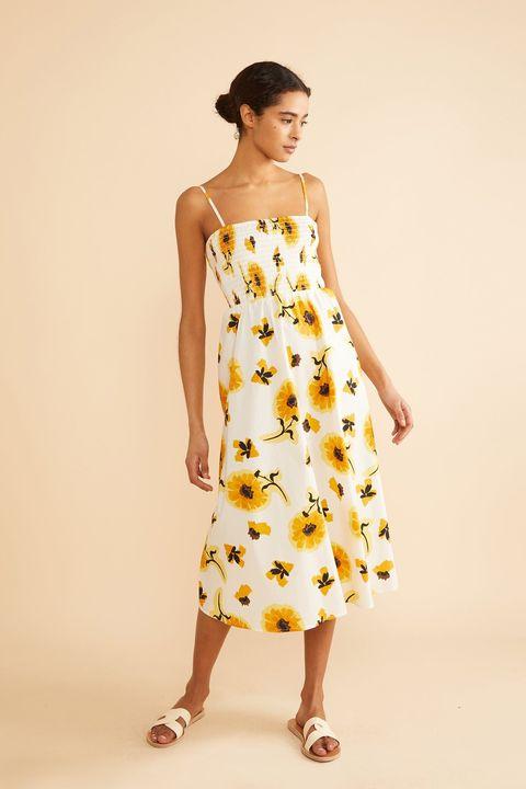 albaray white floral sunflower dress