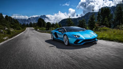 Lamborghini Aventador front 3-4 on road