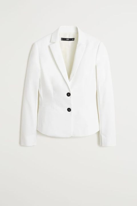 Clothing, White, Outerwear, Blazer, Jacket, Formal wear, Suit, Sleeve, Top, Collar,
