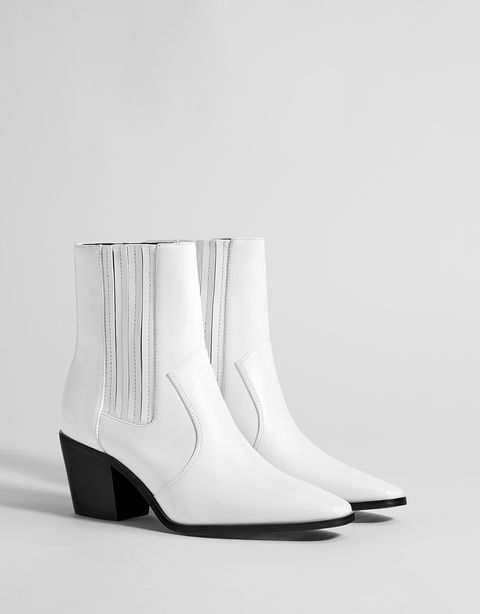 Footwear, White, Shoe, Boot, Product, High heels, Beige, Wedge, Leather,