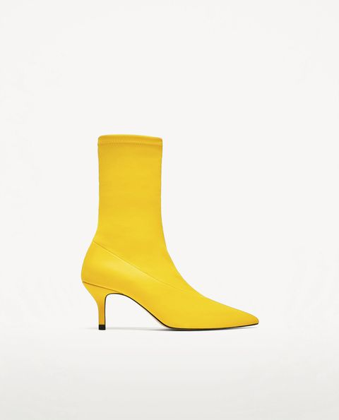 Footwear, Yellow, Shoe, Boot, High heels,