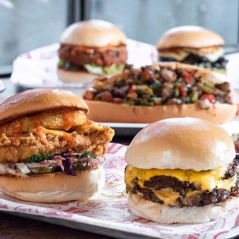 Dish, Food, Cuisine, Hamburger, Slider, Ingredient, Veggie burger, Sloppy joe, Cheeseburger, Breakfast sandwich,