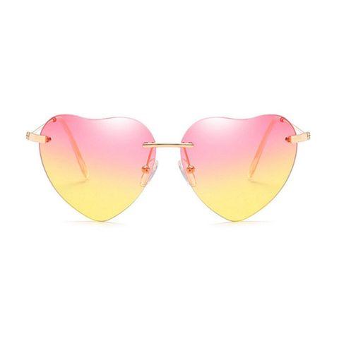 Eyewear, Sunglasses, Glasses, Pink, Yellow, aviator sunglass, Heart, Personal protective equipment, Vision care, Goggles,