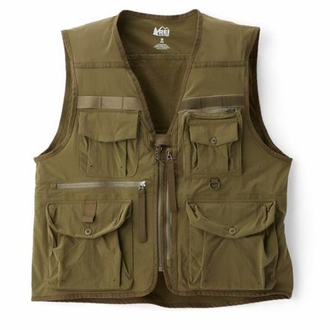 Clothing, Outerwear, Pocket, Vest, Green, Khaki, Jacket, Sleeve,