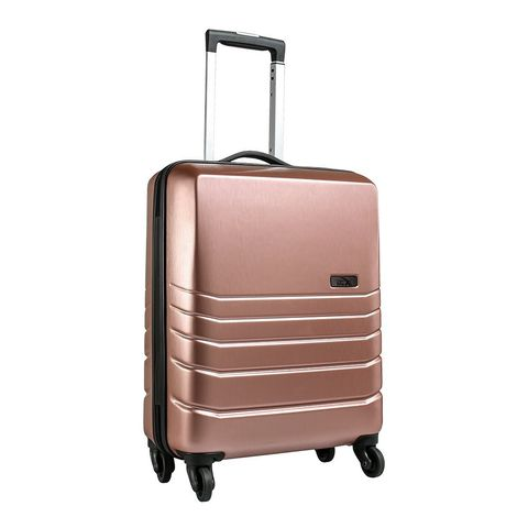 Suitcase, Hand luggage, Bag, Baggage, Luggage and bags, Rolling, Wheel, Beige, Travel, Automotive wheel system,