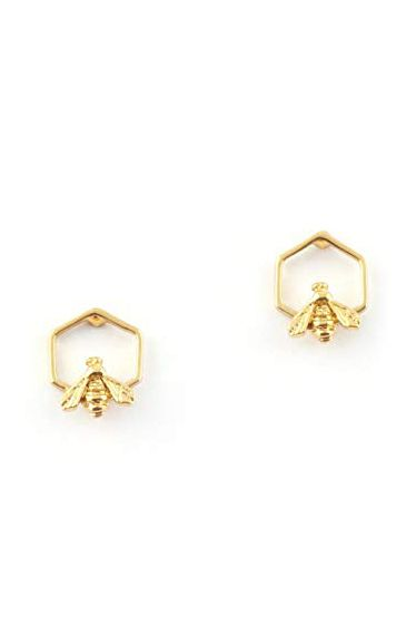 Bill Skinner Gold Plated Hexagon Bee Stud Earrings