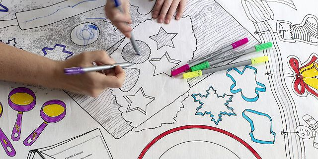 Uncommon Goods Is Selling A Washable Christmas Cookie Coloring Tablecloth For Kids