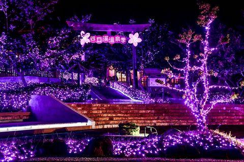 紫色的燈照亮2020屏東四重溪溫泉季