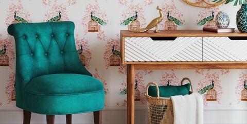 Aqua, Green, Turquoise, Furniture, Room, Wallpaper, Teal, Interior design, Wall, Living room,