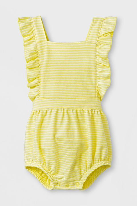 Clothing, Yellow, Product, Baby & toddler clothing, One-piece garment, Dress, Day dress, Pattern, Baby Products, Infant bodysuit,