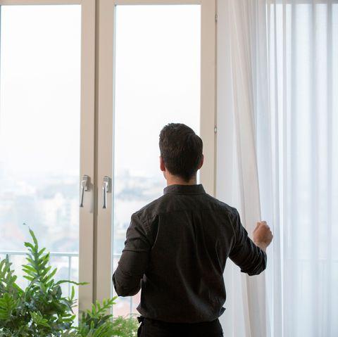 Curtain, Window treatment, Standing, Window, Textile, Interior design, Window covering, Room, Interior design, Door,