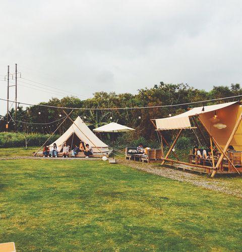 Tent, Sky, Grass, House, Rural area, Land lot, Home, Architecture, Farm, Landscape,