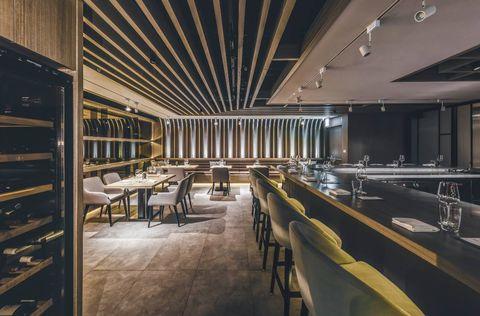 Architecture, Building, Interior design, Room, Design, Ceiling, Floor, Lobby, Flooring, Restaurant,