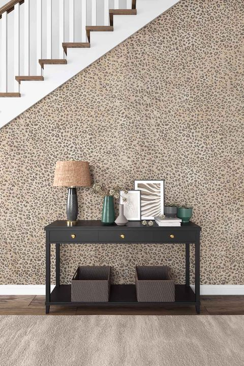 stair with cheetah wallpaper