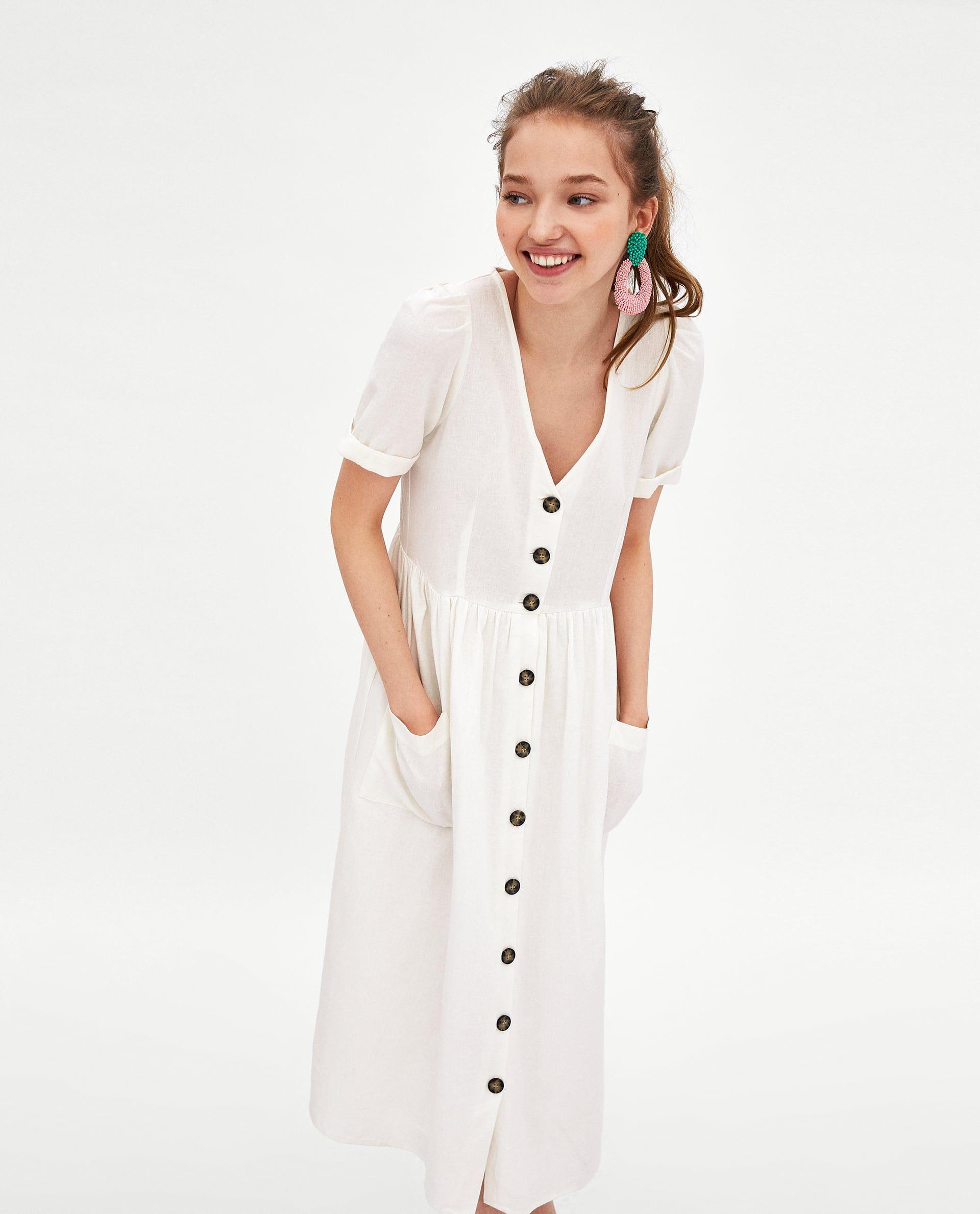 Vestido lino blanco botones zara