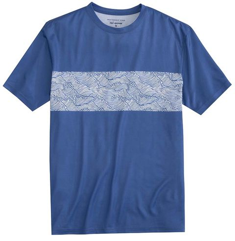T-shirt, Clothing, Blue, Sleeve, Active shirt, Pocket, Top, Textile, Pattern, Electric blue,