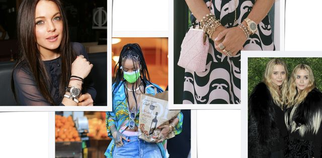 dimepiece stacking watches mary kate and ashley olsen lindsay lohen rihanna