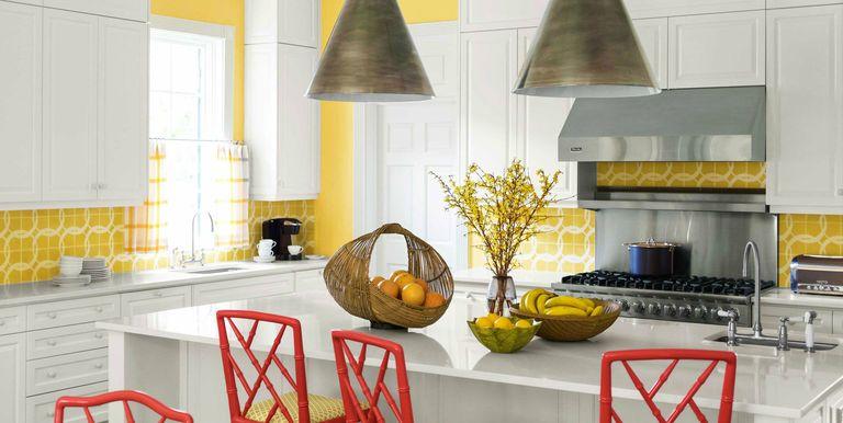 captivating white yellow kitchen ideas | 10 Yellow Kitchens Decor Ideas - Kitchens with Yellow Walls