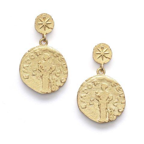 Jewellery, Earrings, Fashion accessory, Circle, Gold, Metal,