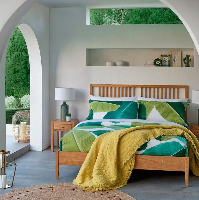 Bedroom, Furniture, Bed, Room, Green, Bed sheet, Property, Interior design, Bed frame, Wall,