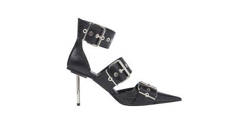 Footwear, High heels, Shoe, Sandal, Font, Leather, Fashion accessory, Buckle,