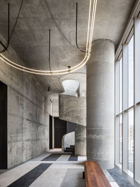 Architecture, Ceiling, Wall, Building, Floor, Interior design, Lighting, Line, Concrete, Cement,