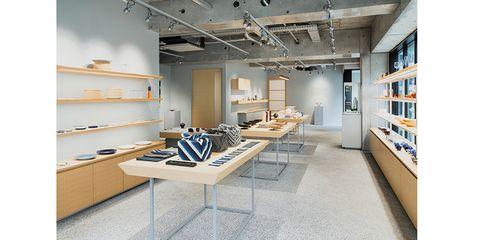 Interior design, Building, Shelf, Property, Room, Furniture, Ceiling, Office, Architecture, Shelving,