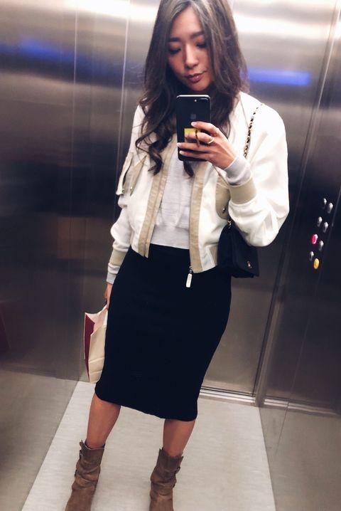 Clothing, White, Black, Fashion, Yellow, Waist, Street fashion, Footwear, Snapshot, Pencil skirt,