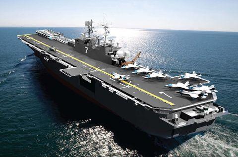 Representación artística del buque de asalto anfibio uss tripoli lha 7 us navy photo illustration