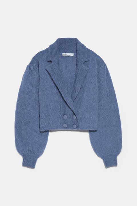 Clothing, Outerwear, Blue, Jacket, Sleeve, Denim, Sweater, Collar, Cardigan, Bolero jacket,