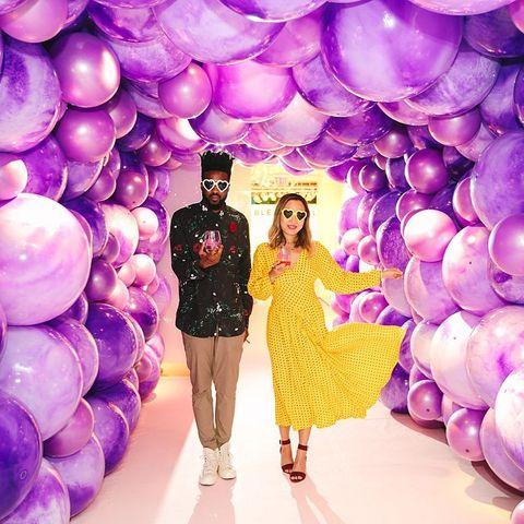 Purple, Balloon, Violet, Fashion, Lavender, Fun, Party supply, Architecture, Happy, Dress,