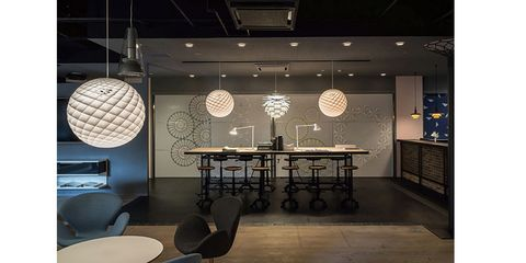 Lighting, Interior design, Room, Furniture, Table, Ceiling, Building, Wall, Light fixture, Design,