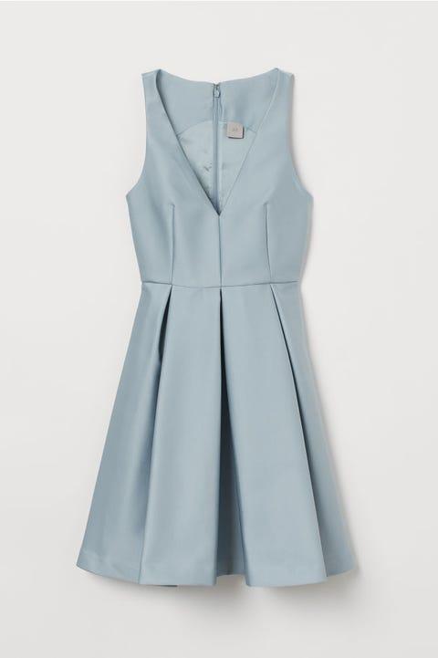 Clothing, Dress, Blue, Aqua, Day dress, One-piece garment, Outerwear, Cocktail dress, Formal wear, A-line,