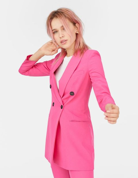 Clothing, Pink, Outerwear, Blazer, Suit, Formal wear, Jacket, Magenta, Neck, Pantsuit,