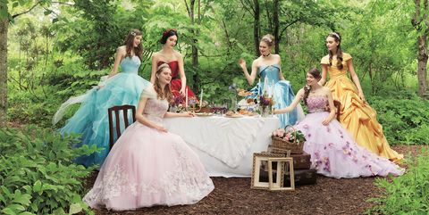 Dress, Photograph, Gown, Clothing, Bride, Wedding dress, Bridal party dress, Pink, Woodland, Event,