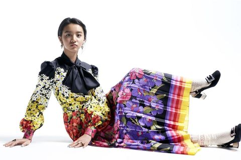 Textile, Design, Fashion model, Sitting, Pattern, Costume, Tradition, Kimono, Fashion design, Style,