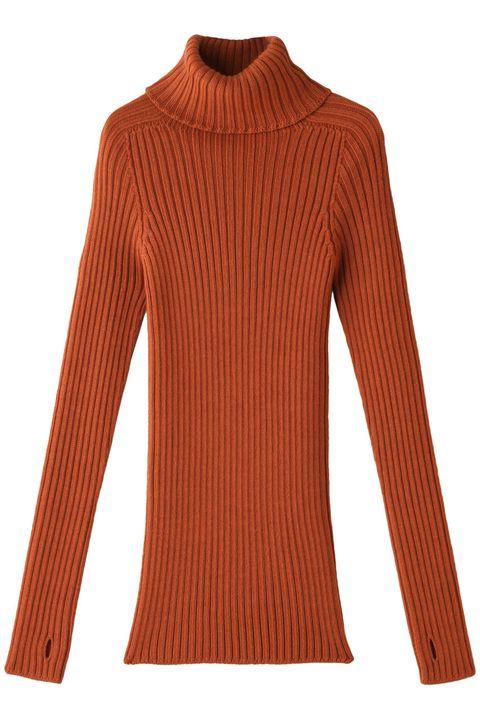 Clothing, Orange, Sleeve, Neck, Wool, Shoulder, Outerwear, Jersey, Brown, Sweater,