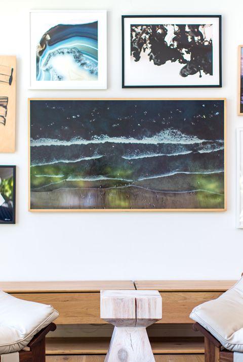 Room, Living room, Furniture, Picture frame, Wall, Interior design, Table, Art, Leaf, Design,