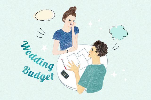 結婚準備について相談しているカップルのイラスト