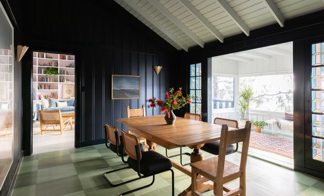 dining room with wooden dining table and dining chairs