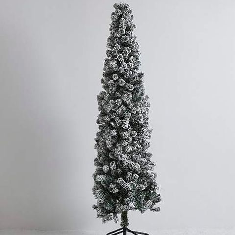 65ft green flocked slim christmas tree - Slim Christmas Tree Decorating Ideas