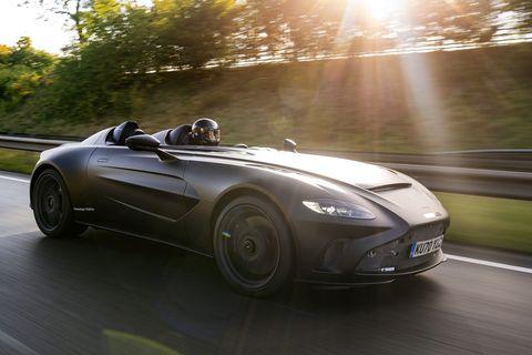 aston martin v12 speedster on the road
