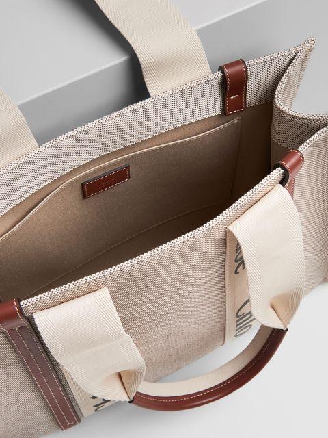 chloe woody咖啡色皮革飾邊大型托特包